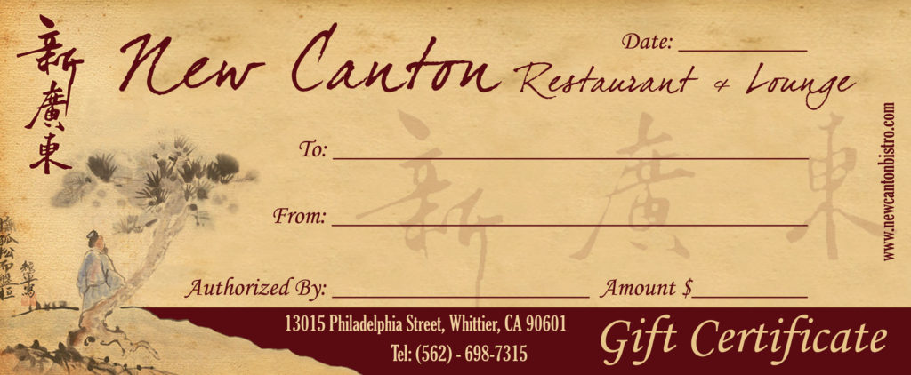 gift certificate new canton bistro